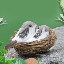 1セット鳥の巣鳥と & 鳥の卵人工羽鳥庭の装飾のため手作り現実的な鳥の巣と鳥