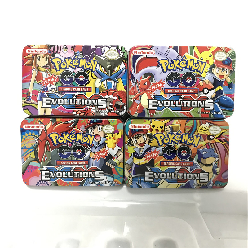 4 Different Cartoon Pokemon Iron Metal Box TAKARA TOMY Toys 42pcs/set Cards 20 60 Pcs Shining Pokemons Battle Carte Trading Card