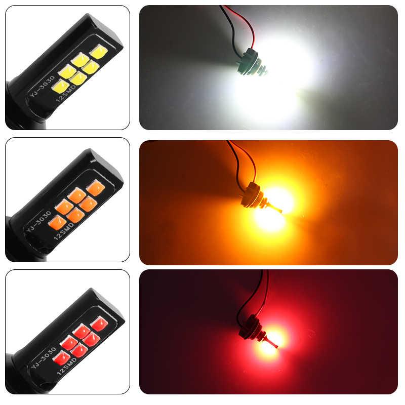 YCCPAUTO 1 PC 1156 Ba15s P21w LED 1157 Bay15s P21/5 W 3030 LED รถไฟเบรคย้อนกลับอัตโนมัติโคมไฟ S2 หลอดไฟสีแดงสีขาวสีเหลือง 12V