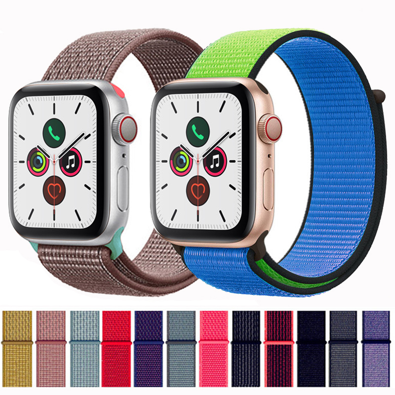 Nylon Strap For Apple Watch 5 4 Band Correa Applewatch 44mm 42mm 40mm 38mm Iwatch 5 4 3 2 1 Colorful Bracelet