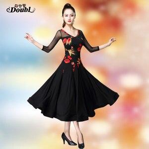 Image 1 - Doubul saia moderna mais magro na cintura vestido de dança de salão de baile padrão nacional valsa tango competição traje franja espanhol