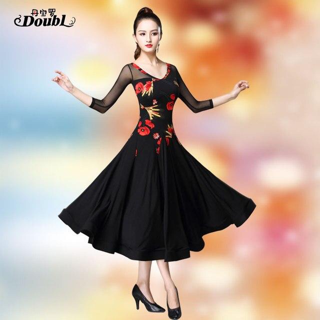 Doubul saia moderna mais magro na cintura vestido de dança de salão de baile padrão nacional valsa tango competição traje franja espanhol