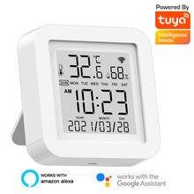 Tuya WIFI Smart Temperature Humidity Sensor Digital Thermometer Hygrometer Time Date LCD Screen Detector Smart Home Desk Clock