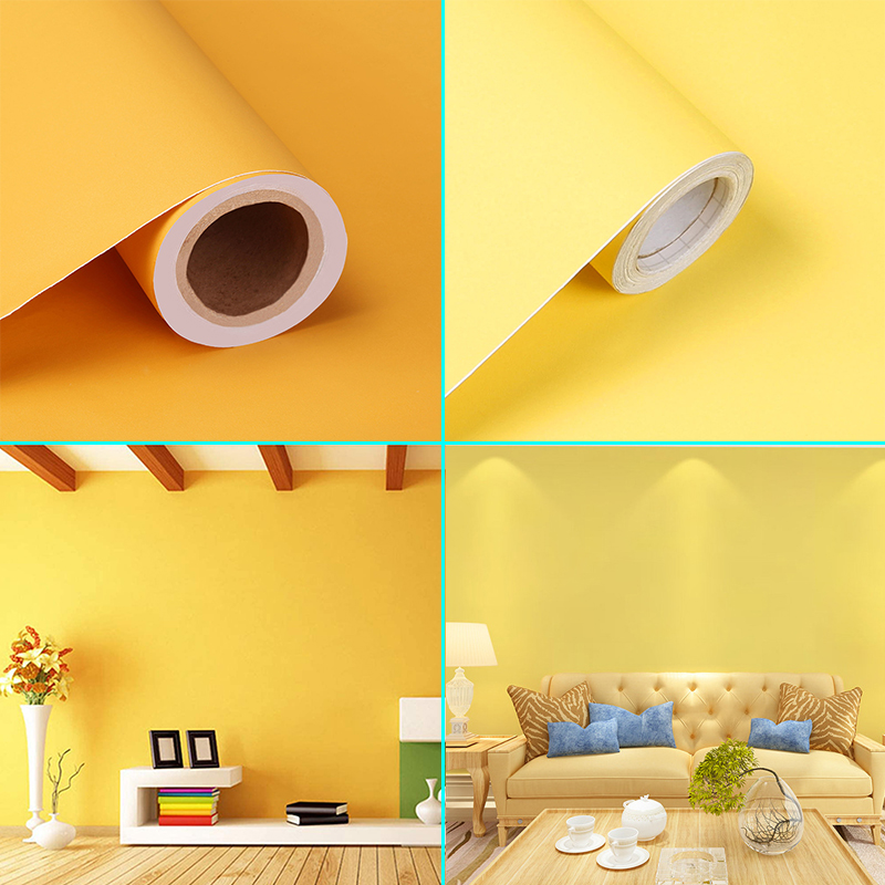 2 Yellow Matte Textured Vinyl Self-Adhesive Wallpaper 10m*60cm Home Decorative Contact Paper Kitchen Kids Room DIY Wall Stickers