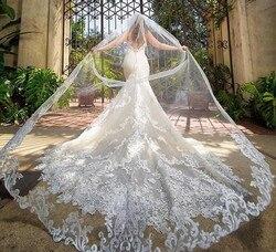 Custom Made 4M Bridal Veils Met Kant Applique Rand Lange Kathedraal Lengte Wedding Veils Een Layer Tulle Bridal Veil met Kammen