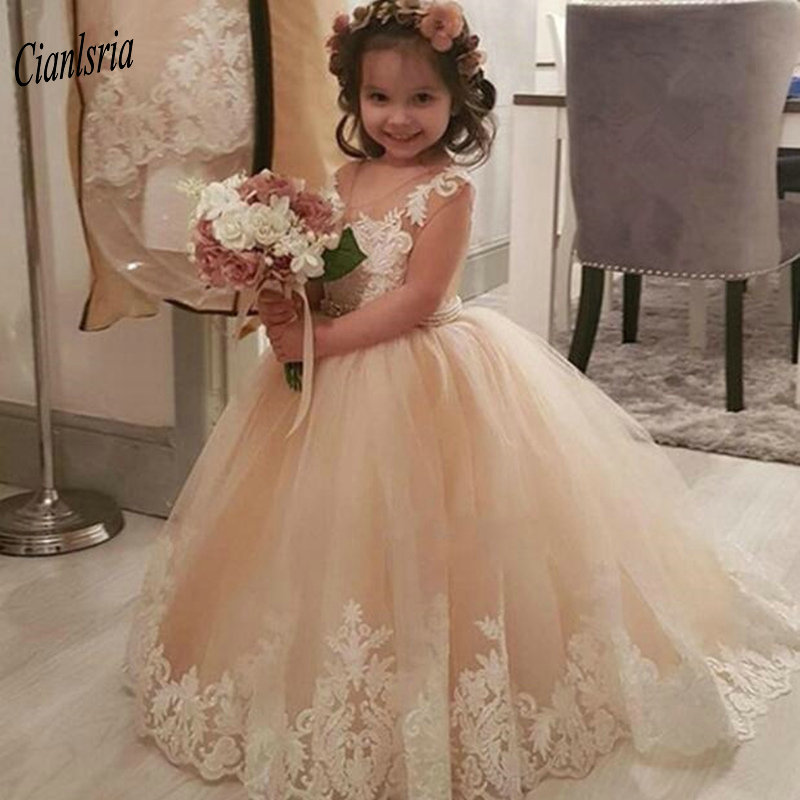 Pretty Champagne O-Neck Cap Sleeves Ball Gown Flower Girl Dresses With Sashes Appliques Lace Puffy Kids Pageant Dresses