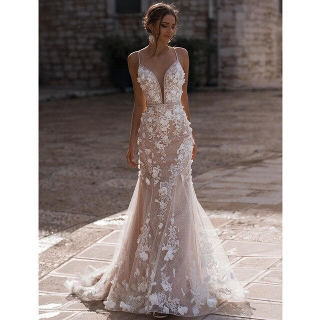 Sexy Mermaid Wedding Dresses 2021 Deep V neck Spaghetti Straps Beading Crystal Sashes 3D Appliques Vestido De Novia Bridal Gowns 1