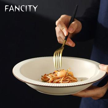 FANCITY styl japoński prosty i kreatywny domowy ceramiczny talerz do zupy zastawa stołowa okrągły talerz płyta danie płyta płytki talerz tanie i dobre opinie CN (pochodzenie) Stałe Owalne