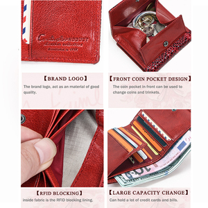 Image 5 - Contacts Womens Wallet Genuine Leather Purse Hasp Coin Pocket RFID Wallet Card Holder Femal Money Bag Small Carteira Feminina