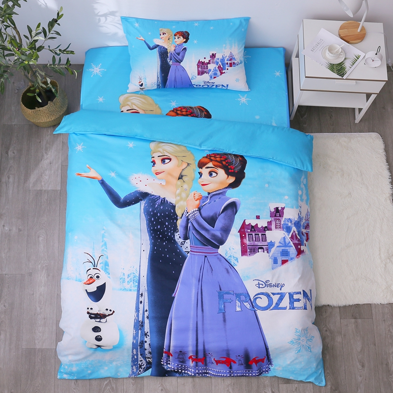 Cartoon Blue Frozen Princess Elsa Anna Bedding Set Children's Kids Duvet Cover Set Bedroom Decor Twin/Single Size For 1.2m Bed