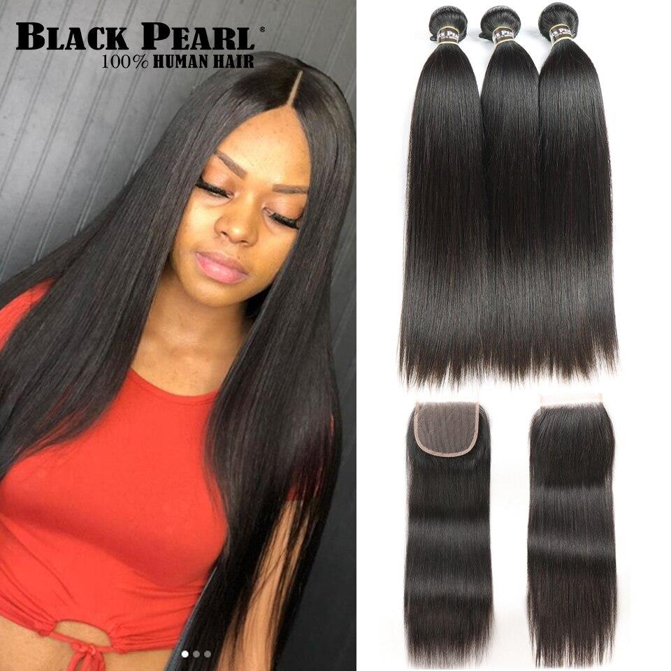 Черные жемчужные прямые пряди для волос с закрытием, не Реми человеческие волосы, 3 пряди с закрытием, перуанские пряди для волос с закрытием