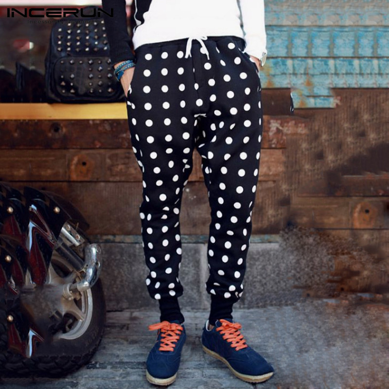 INCERUN Men Polka Dot Printed Elastic Waist Harem Pants Fashion Comfort Casual Trousers Joggers Mens Slim Sweatpants Streetwear