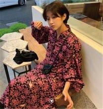 Женское винтажное платье с v образным вырезом и цветочным принтом