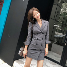 Women Print Striped Mini Blazer Dress Gray Double Button OL Office Work Dress Women A-Line Package Hip Autumn Dress Plus Size