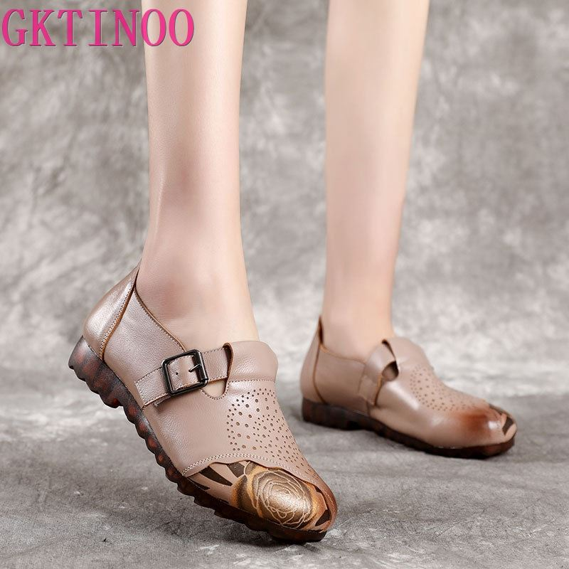 GKTINOO Spring Flat Shoes Woman 2020 Vintage Flats Women Casual Shoes Genuine Leather Soft Bottom Ladies Leather Shoes Size 41