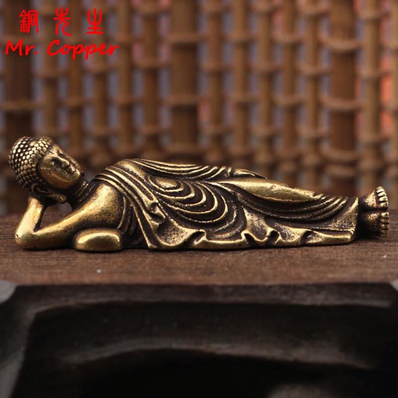 Solid Pure Brass Buddha Small Ornament Figurines Antique Copper Guanyin Sleeping Buddha Statue Desk Decorations Home Decor Craft