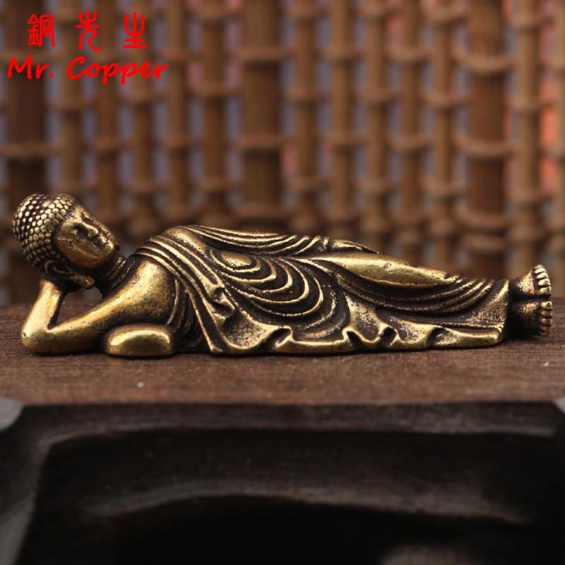 Однотонное маленькое украшение Будды из чистой латуни, статуэтки, антикварная Статуэтка Гуаньинь из меди фигурка спящего Будды, украшение ...