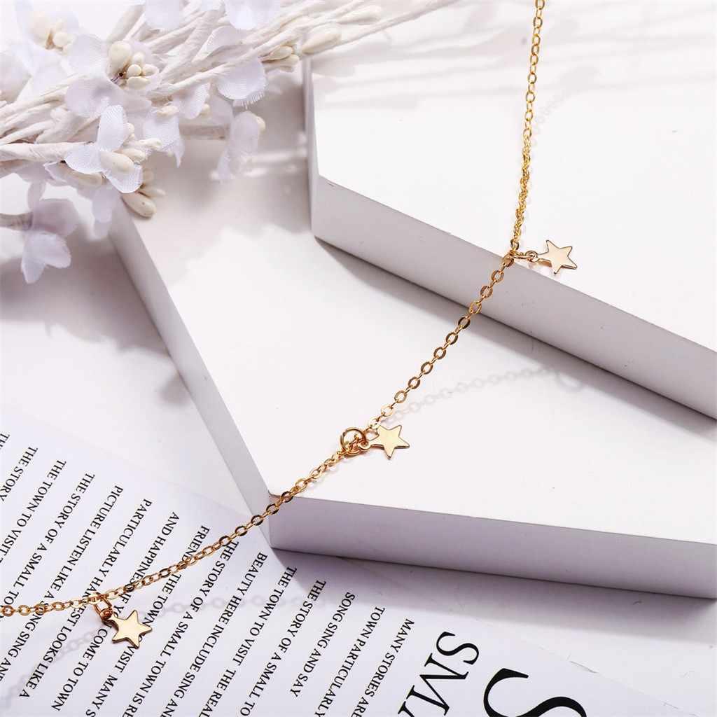 จี้สร้อยคอผู้หญิง Simple Alloy GOLD สามดาวยาวสร้อยคอสร้อยคอ Rose ดอกไม้หญิงเครื่องประดับ 2019 ขายส่ง