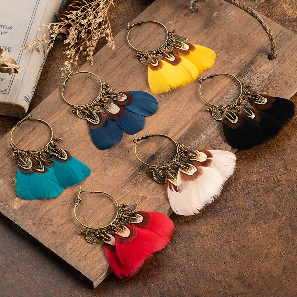 Ethnic Charm Pendant Hanging Drop Natural Feather Earrings For Women Dangle Long Earrings fashion Jewelry Party Wedding Earrings