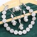 Очаровательные серьги с белым жемчугом из серебра 925 пробы с искусственным цирконием, браслет, ожерелье, кольцо с подвеской