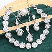 Charming white pearl 925 conjunto de jóias de prata para mulheres zircão pulseira brincos colar pingente anel