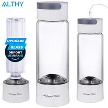 ALTHY-botella generadora de agua rica en hidrógeno, vidrio Cupbody, DuPont SPE & PEM, máquina de doble cámara, ionizador, dispositivo de inhalación H2