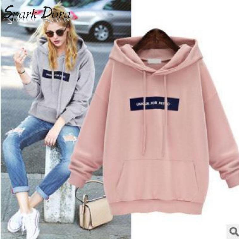 SparkDora Autumn Winter Plus Velvet Hoodie Women's Pullover Europe America Popular Brand Hooded Lettered Printed Shirt Students