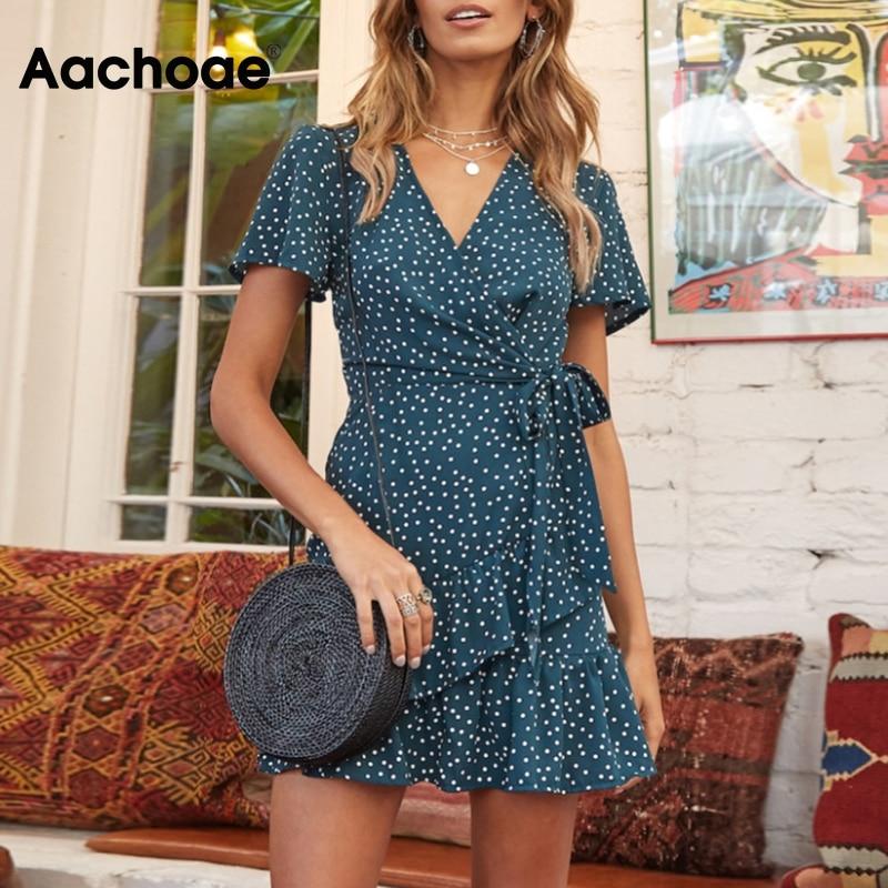 Aachoae Casual Polka Dot Mini Dress Women V Neck Ruffles A Line Dresses Short Sleeve Bandage Beach Dress Summer Robe Femme XS-L