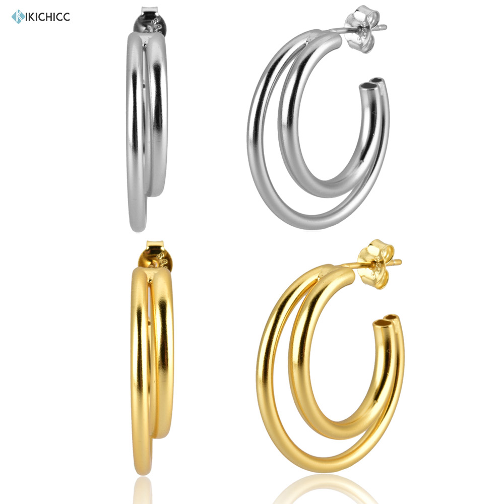 Large Double Hollow Round Earrings