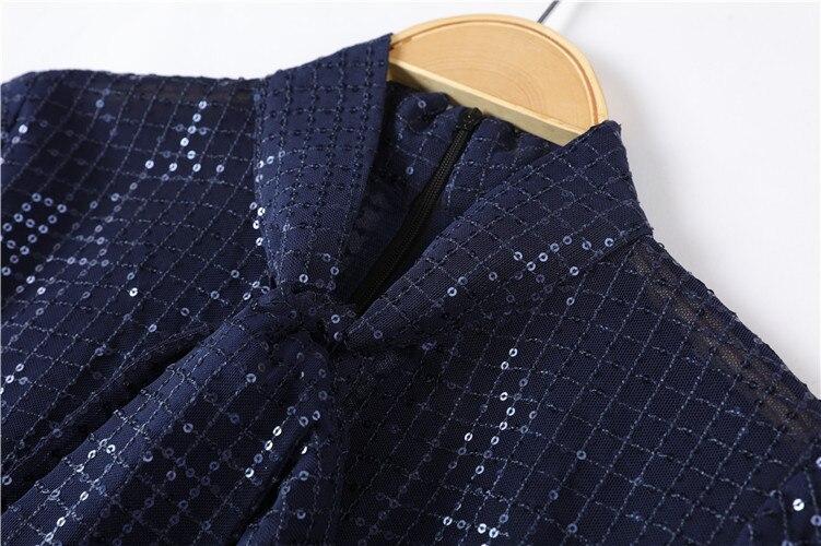 2019 automne blouse transparente femmes arcs voir à travers les manches longues bleu paillettes Blouse piste chemises élégantes - 6