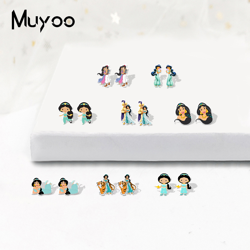 Cute Kawaii Fairy Story Jasmin Princess Acrylic Earrings Lovely Sweet Fairy Story Jewelry Resin Earrings Gifts For Girls Epoxy