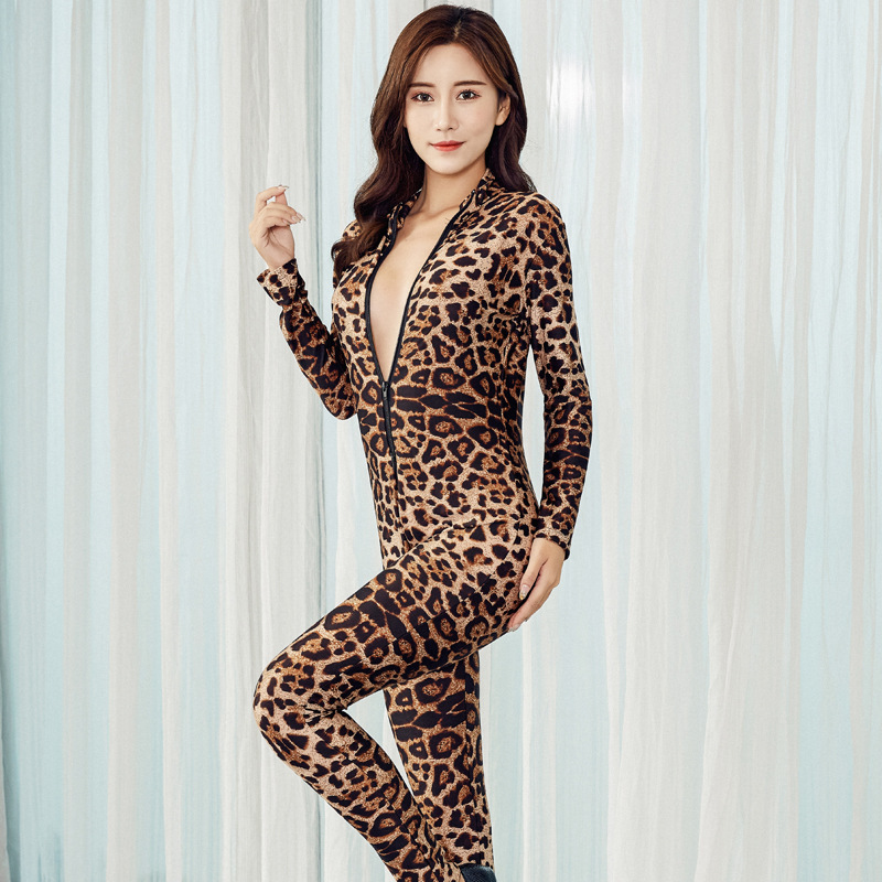 S-7XL 2019 Autumn Winter Women Clothing Jumpsuit Leopard and Black <font><b>Sexy</b></font> Bodycon Streetwear <font><b>Festival</b></font> Body Outfits Tracksuit Party image