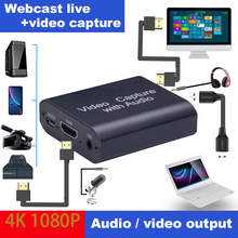 4K Mini Video Capture Card USB 3.0 2.0  Video Grabber Record Box for PS4 Game DVD Camcorder Camera Recording Live Streaming