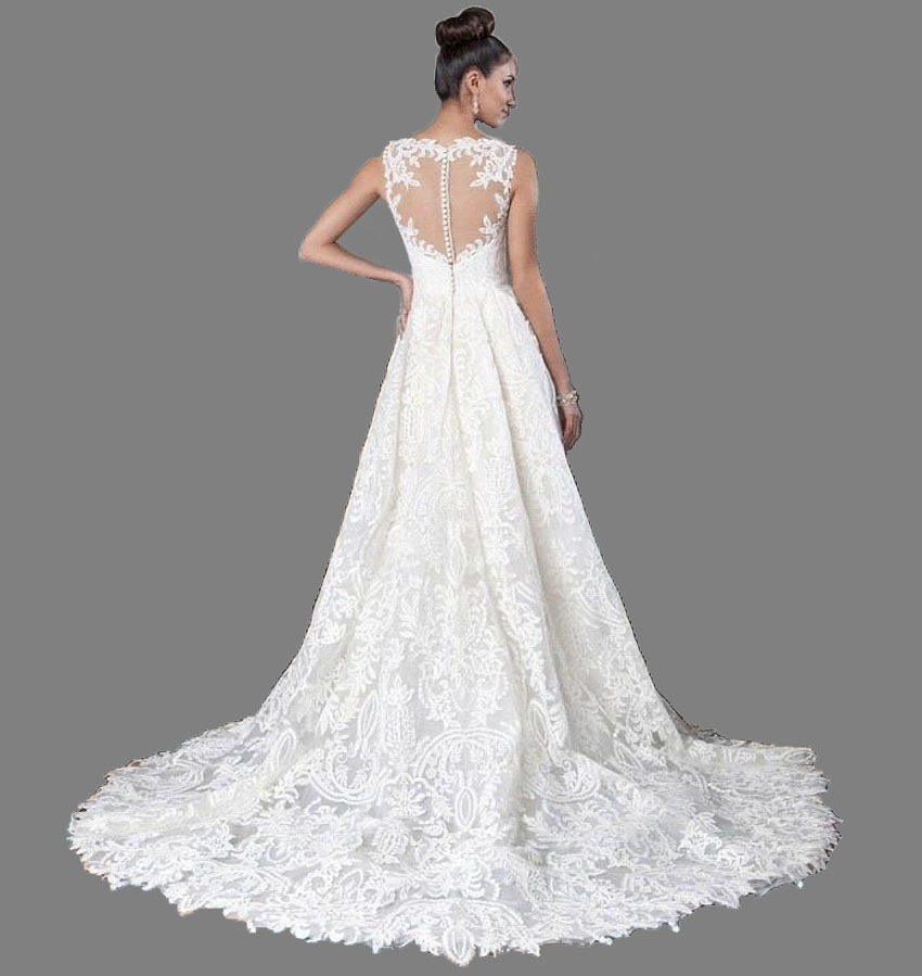 Image 2 - 2019 Chapel Train Elegant Boat Neck High Low Long white / ivory Hi low Wedding Dress short front long back Bridal Gown Quality-in Wedding Dresses from Weddings & Events