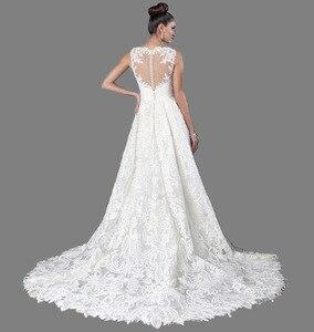 Image 2 - Vestido de novia largo Blanco/marfil con cuello de barco elegante, vestido de boda alto bajo, Parte delantera corta, vestido de novia con espalda de calidad, 2019