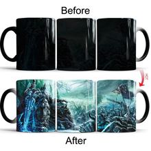 1pcs 350ml Death Knight Mug  Figure Color Changing Frozen Throne Heat Sensitive Reveal Ceramics Coffee Cup Creative Gifts
