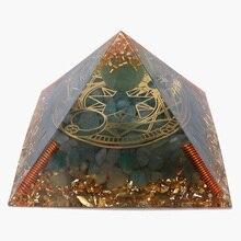 3.74inch Reiki Orgonite Pyramid Aventurine Meditation Healing Orgone Pyramid For Energy Balancing Generator Resin Crystal Decor