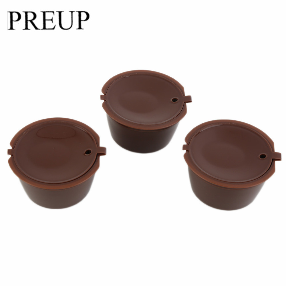 3Pcs Eco-friendly Brown Reusable Coffee Capsule Plastic Refillable Compatible Coffee Filter Baskets Soft Capsules Taste Sweet