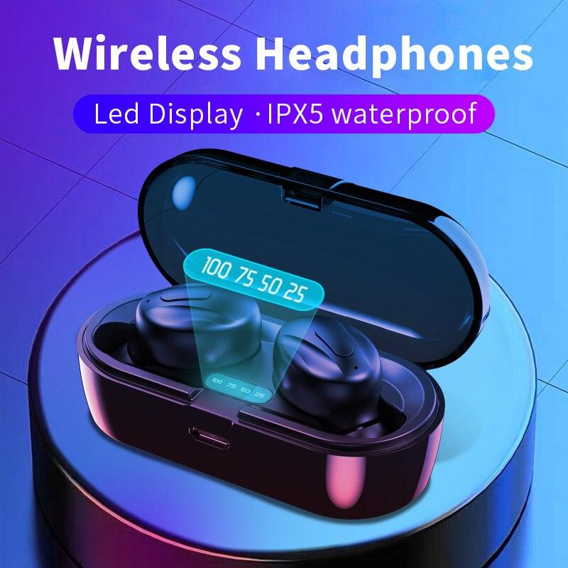 Wireless earbuds Bluetooth headset TWS 5 0 IPX5 waterproof Deep Bass Stereo in-Ear Earphones Built-in Mic for Sports