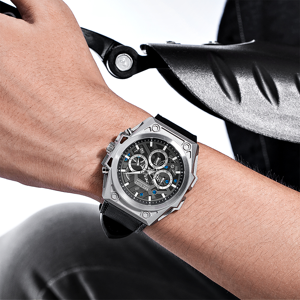MEGIR Stainless Steel Mens Watches Waterproof Sports Men Quartz Wristwatches Chronograph Stop Watches for Man Male Clock Hour 6