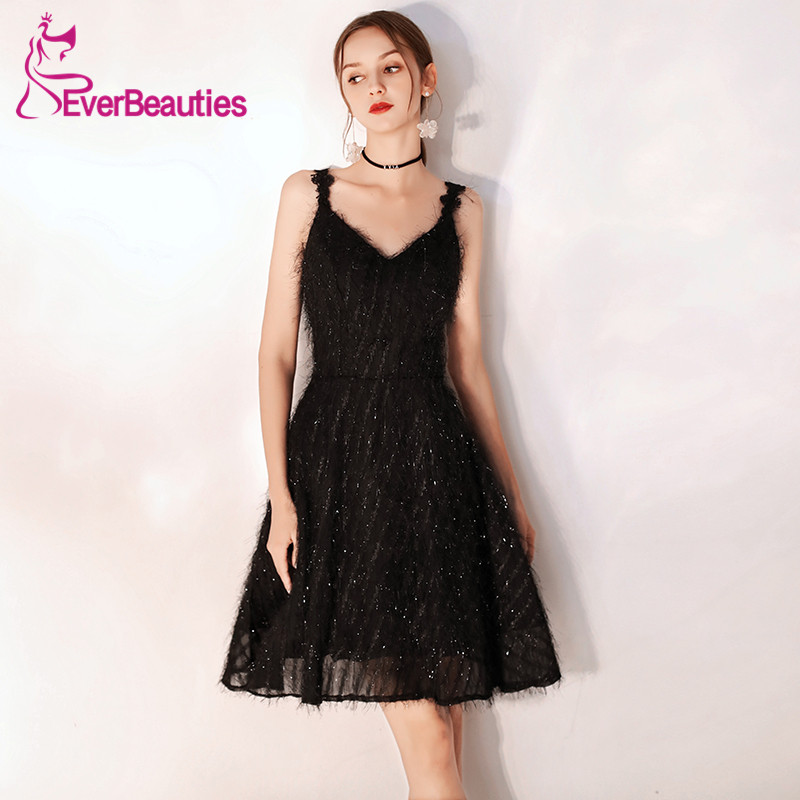 Black Cocktail Dresses 2019 Sequins Shiny Tulle Sequins Homecoming Party Dresses Sexy V-Neck Robe Cocktail