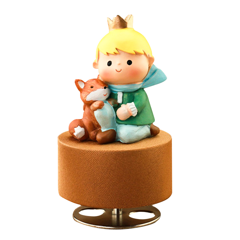 Little Prince Clockwork Rotation Round Base Musical Boxes Wooden Music Box Wood Crafts Retro Gift Home Decoration Accessories