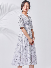 BG Floral Print V Neck Women Elegant A Line Dress Ladies Short Sleeve Plain colour J90421278