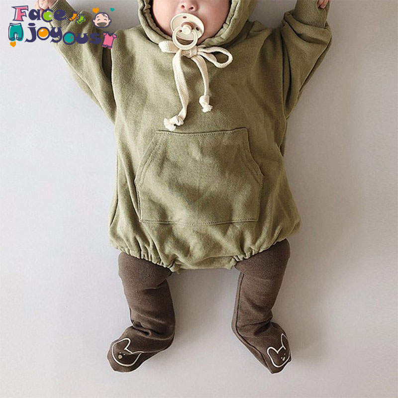 2019 Autumn New Baby Girls Boys Hooded Romper Long Sleeve Fashion Kids Jumpsuit 0-3 Years