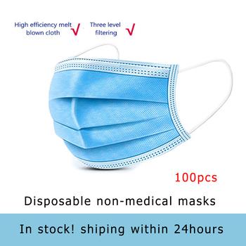 W magazynie! 100 sztuk Anti Droplet jednorazowe maska ochronna na twarz 3ply włókniny maski na usta pyłoszczelna Earloop dla dorosłych tanie i dobre opinie cotton Ciśnienie krwi masks