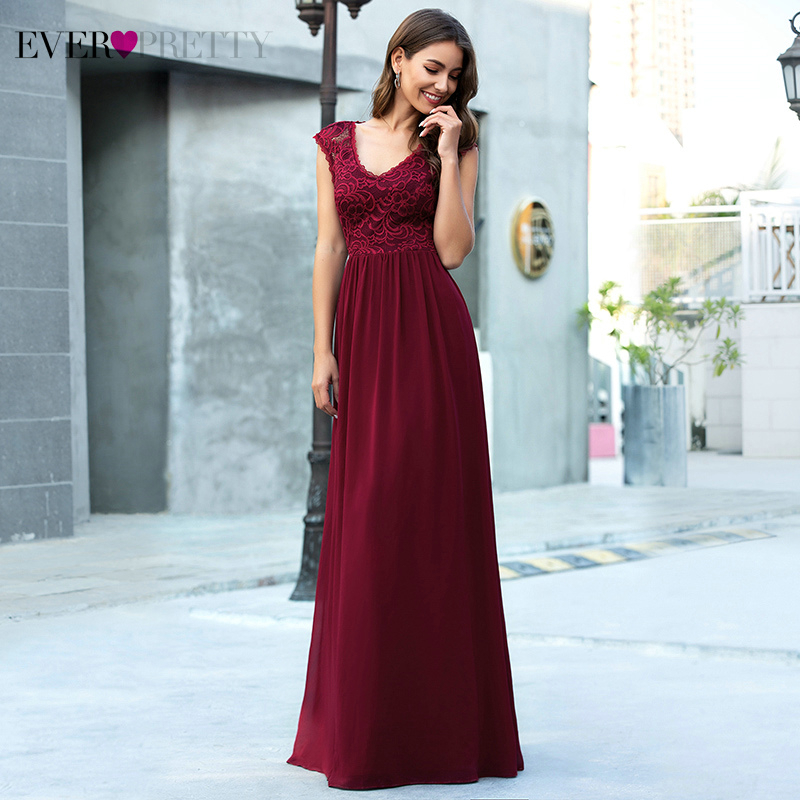Burgundy Prom Dresses Ever Pretty A-Line V-Neck Sleeveless Embroidery Elegant Floral Lace Long Party Gowns Vestido De Festa 2020