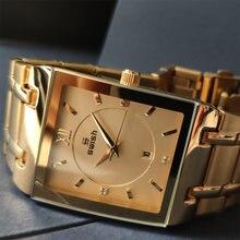 Relógio de pulso de quartzo quadrado de moda feminina relógio de pulso de quartzo de luxo