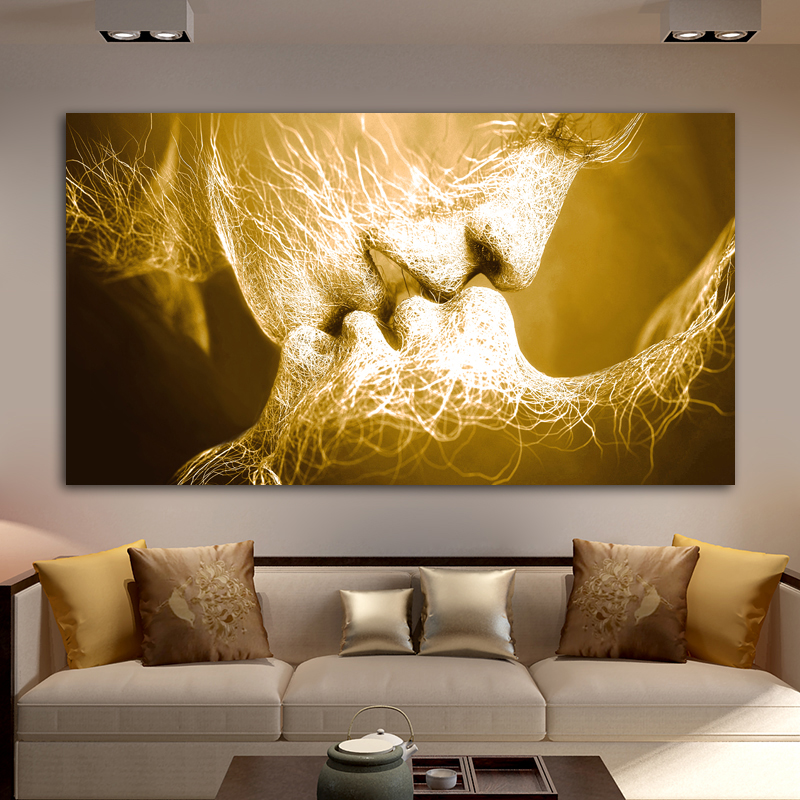 Unframed Abstract oil painting Love Kiss Wall Art Canvas Prints Pictures For Living Room Modern Pictures Unframed Abstract oil painting Love Kiss Wall Art Canvas Prints Pictures For Living Room Modern Pictures Home Decoration