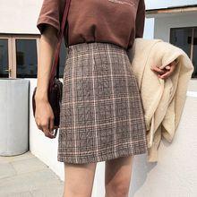 цена на Casual Skirt Women's High Waist Plaid Skirt Woolen Skirt Short Skirt NS