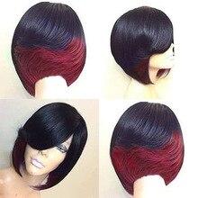 Короткие Bobo парик для черных Для женщин девочек синтетические парики черно-зеленый красный парик для Косплэй вечерние повседневные Примен...